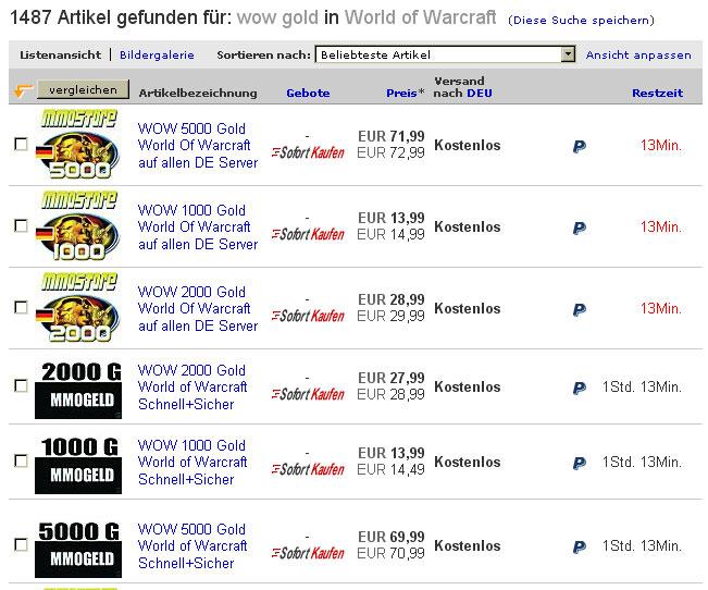 WoW Gold Treffer bei eBay