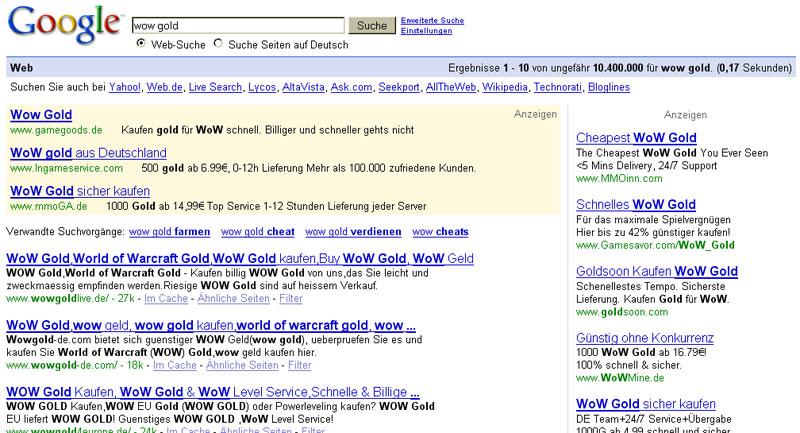 WoW Gold Treffer bei Google