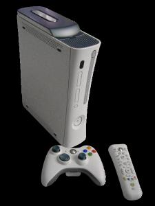 Die Mircosoft Xbox 360 mit Wireless Controller und Fernbedienung.