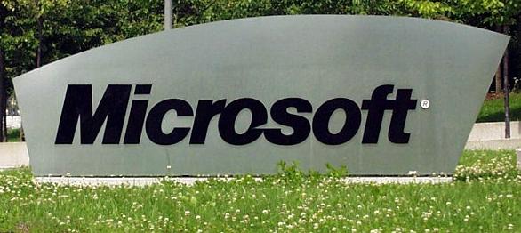 Microsoft Logo am Eingang der deutschen Niederlassung.