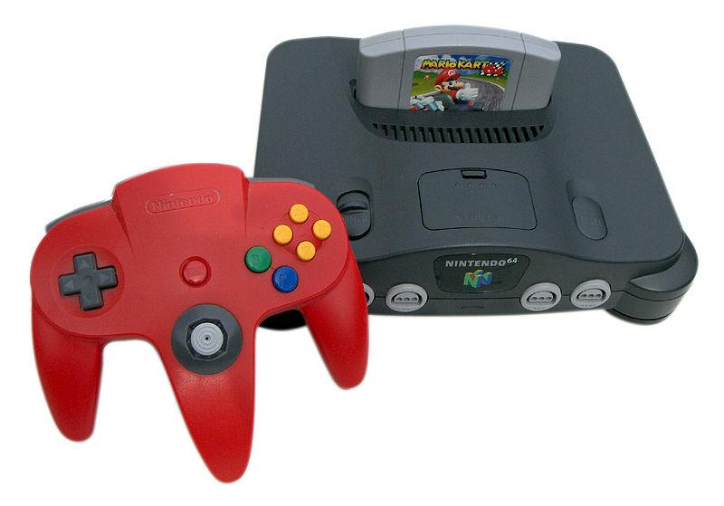 Der Nintendo 64 in schwarz mit rotem Controller.